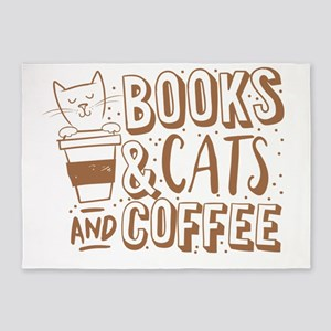 Books and cats and coffee 5'x7'Area Rug